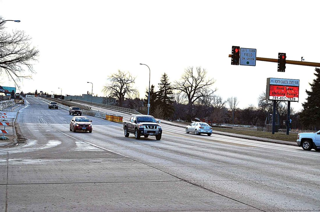 Eloise Ogden/MDN The east Broadway Bridge opened to two lanes of northbound traffic in Minot, as construction was substantially complete for 2017 on the U.S. Highway 83 Broadway Viaduct Replacement Project.