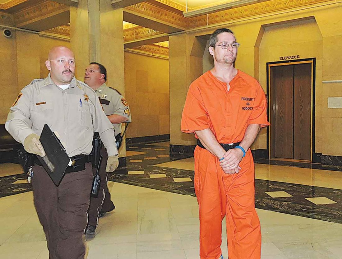 Convicted murderer Richie Wilder Jr. was sentenced for his failed escape from the Ward County Jail in August 2015. He also appeared at a hearing that will decide whether he will be able to have contact with his two children.   Kim Fundingsland/MDN