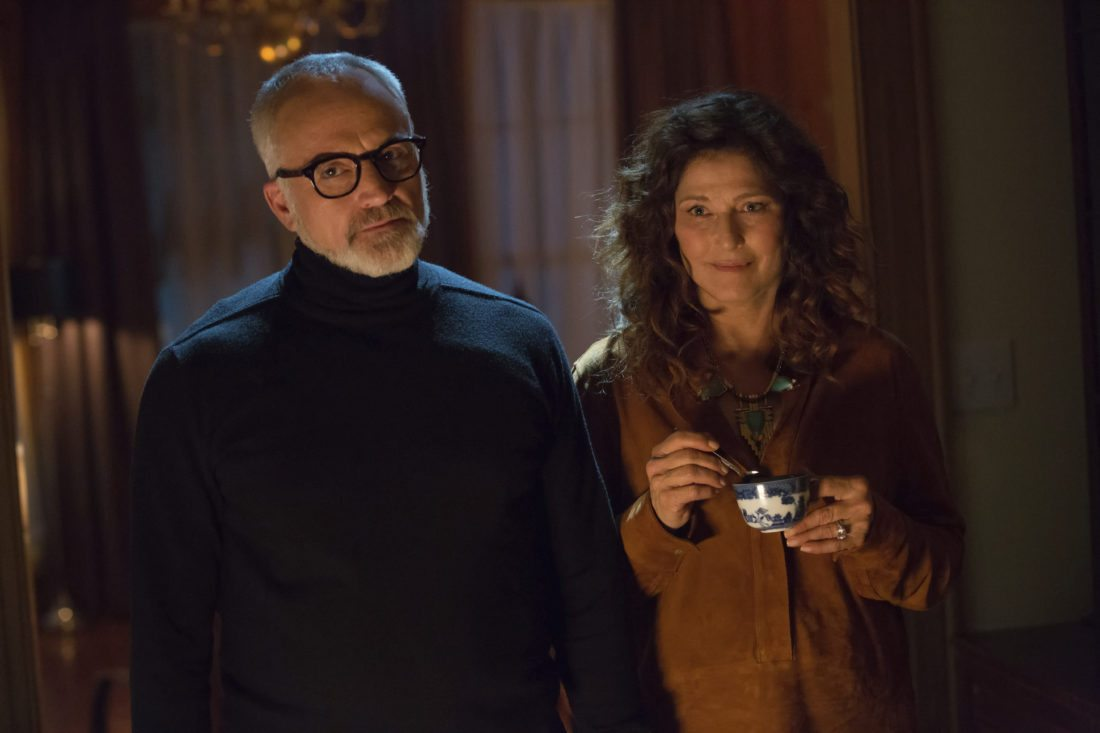 "This image released by Universal Pictures shows Bradley Whitford, left, and Catherine Keener in a scene from ""Get Out.""  Keener's character Missy Armitage hypnotizes the protagonist by stirring her tea methodically. (Justin Lubin/Universal Pictures via AP)"