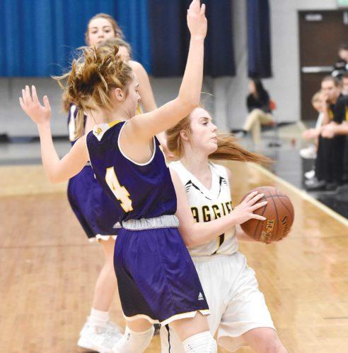 Garrick Hodge/MDN Bishop Ryan's Nora Kramer (4) defends Park River/Fordville-Lankin's Amy Seim (1) during a high school girls basketball game Thursday in Minot.