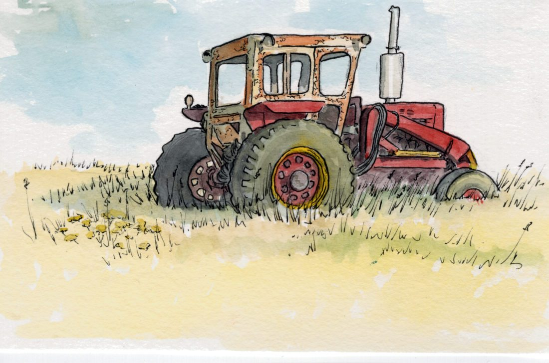 Tractor watercolor small
