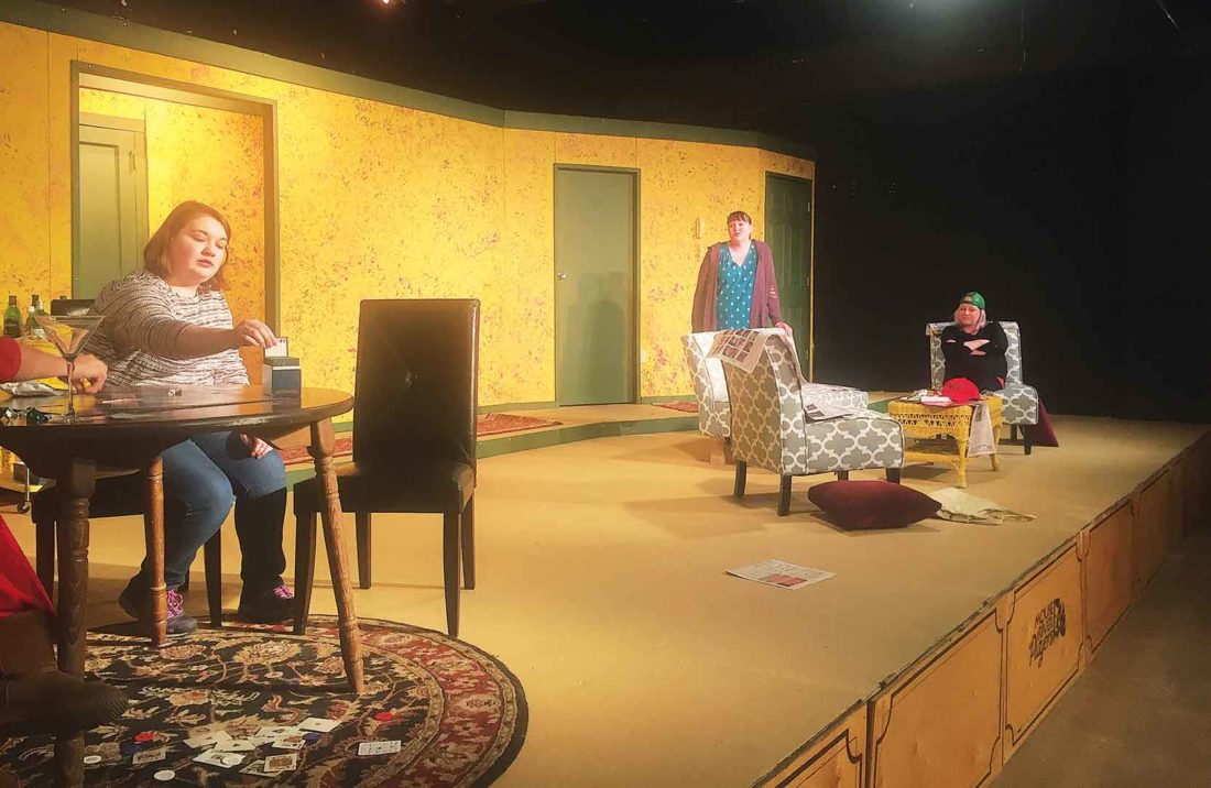 """Submitted Photo Actors in """"The Odd Couple"""" practicing for the performance."""