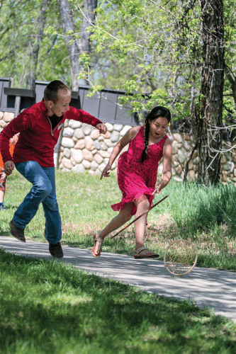 Submitted Photos Children play Native American games.