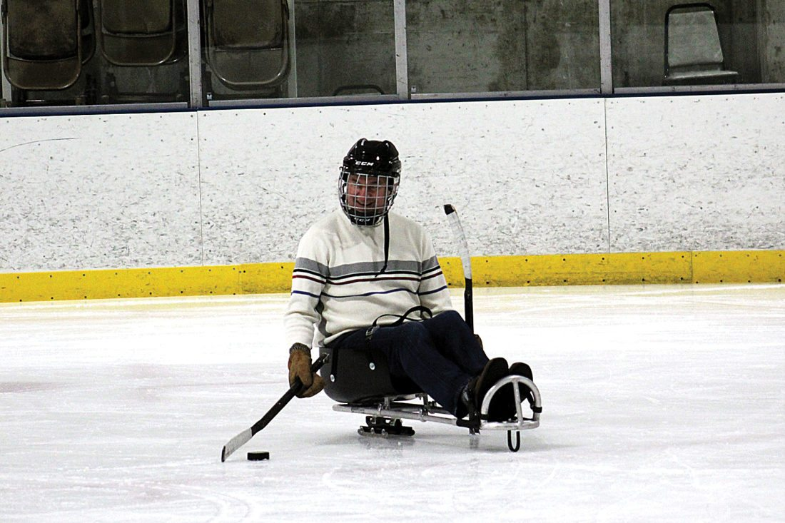 Ashton Gerard/MDN Dave Christian on the ice Saturday at the Prairie Grit Adaptive Sports sled hockey practice on Saturday.