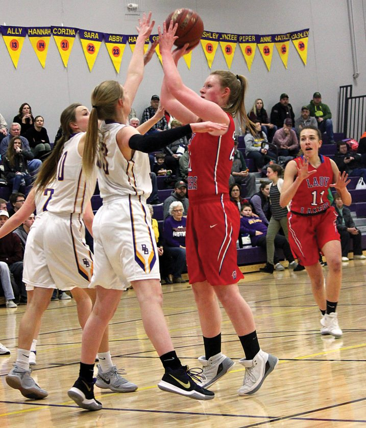 Alex Eisen/MDN Lakers freshman Brooklyn Benno takes a jump shot against the Bombers on Monday in Berthold.