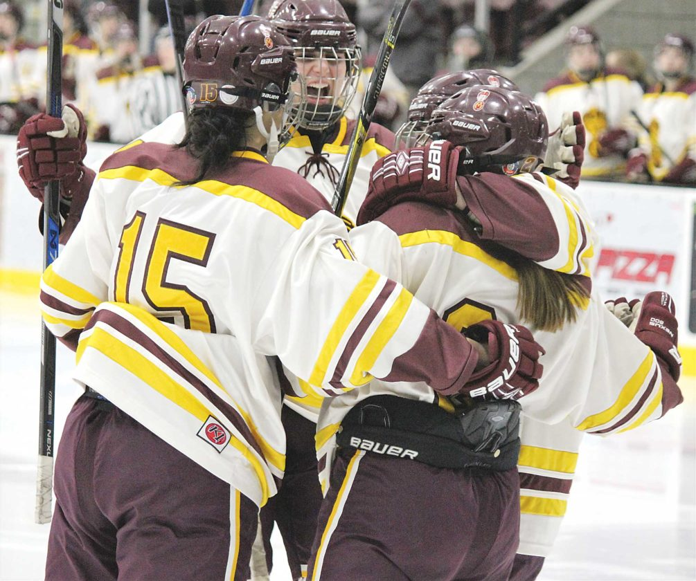Alex Eisen/MDN The Majettes hug it out after scoring a goal Tuesday against Williston at Maysa Arena.