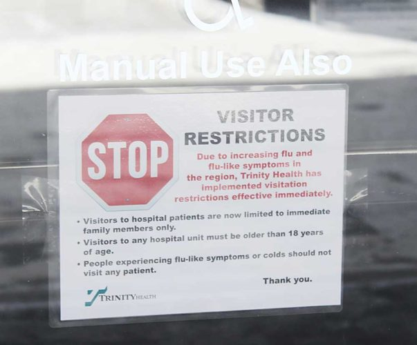 Shyanne Belzer/MDN Trinity has implemented visitation restrictions at both of its Minot hospital locations.