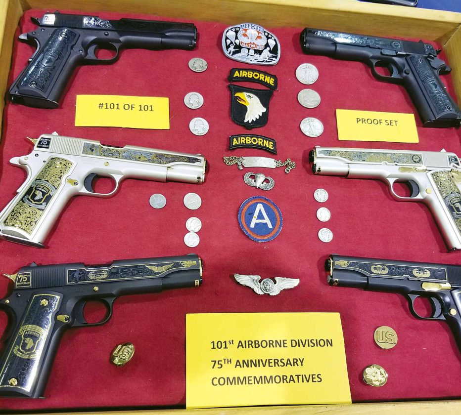 Kim Fundingsland/MDN This impressive collection of 1911 pistols made to commemorate the 75th anniversary of the famed 101st Airborne Division is part of the Bruce Gjorven collection.