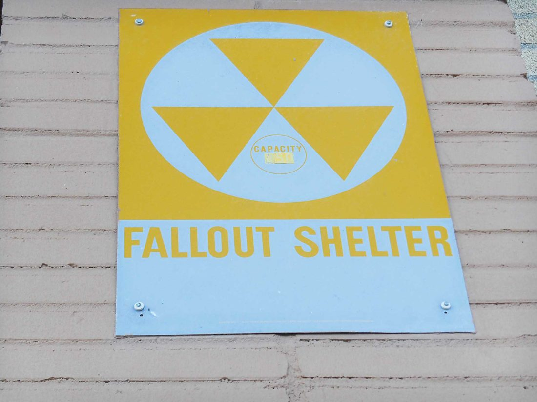 Eloise Ogden/MDN This fallout shelter sign is posted on the wall outside a local building. If a nuclear blast would ever occur, taking shelter is absolutely necessary, according to the Federal Emergency Management Agency. Blast shelters and fallout shelters are two kinds of shelters for this type of emergency situation.