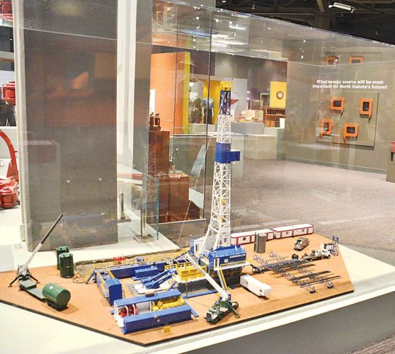 This oil rig model made by Mitch Greiss is displayed in the North Dakota Heritage Center in Bismarck. Built at 1/48 scale, the model reflects what an oil drilling rig would have looked like in the 1990s. Currently, 57 rigs are actively drilling in North Dakota.   Eloise Ogden/MDN