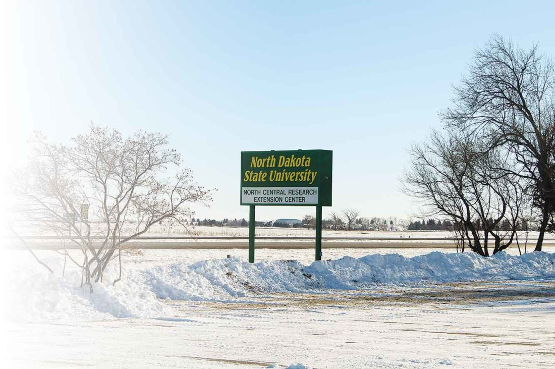 Ashton Gerard/MDN The North Dakota State University North Central Research Extension Center sign stands amidst the snow at 5400 Highway 83 S, Jan. 12.