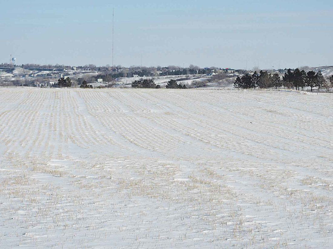 Kim Fundingsland/MDN A light layer of snow covers ground that is in need of soil moisture. Much of the state, particularly western North Dakota, is deficient in soil moisture.