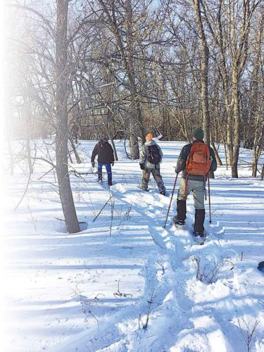 Submitted Photo Visitors in snowshoes make their way through the trees and snow in the Upper Souris National Wildlife Refuge.