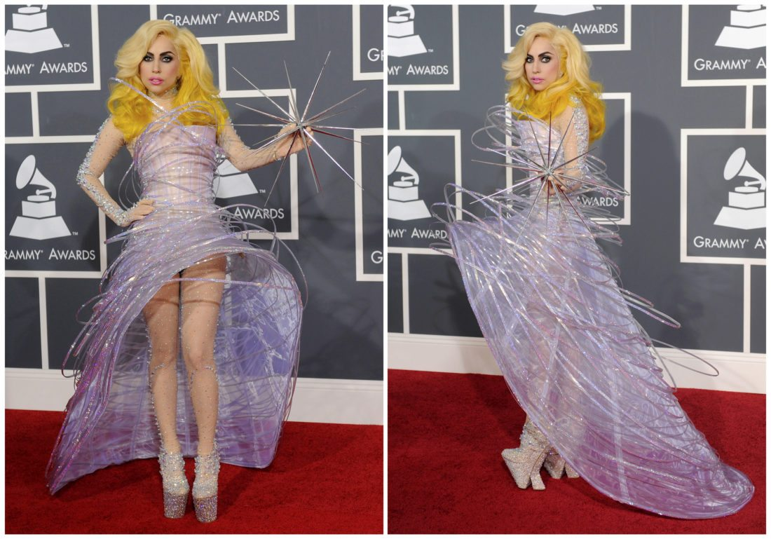 This combination photo shows Lady Gaga arriving at the Grammy Awards on  Jan. 31, 2010, in Los Angeles wearing a  futuristic lavender dress by Armani Prive. (AP Photo/Chris Pizzello, File)