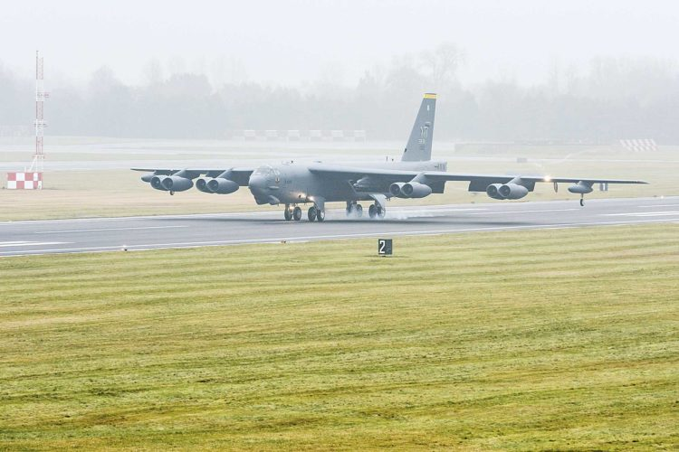 Submitted Photo A Minot Air Force Base B-52H Stratofortress assigned to Air Force Global Strike Command touches down at RAF Fairford, England, Jan. 9, shown in this photo by Senior Airman J.T. Armstrong. The deployment of strategic bombers to RAF Fairford helps exercise the base as United States Air Forces in Europe's forward operating location for bombers.