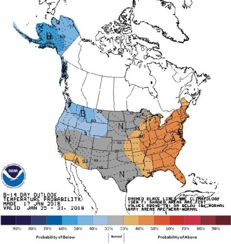 Submitted Photo As this 8-14 day temperature outlook shows, North Dakota is included in a large portion of the United States that is expected to experience near-normal temperatures during the period.