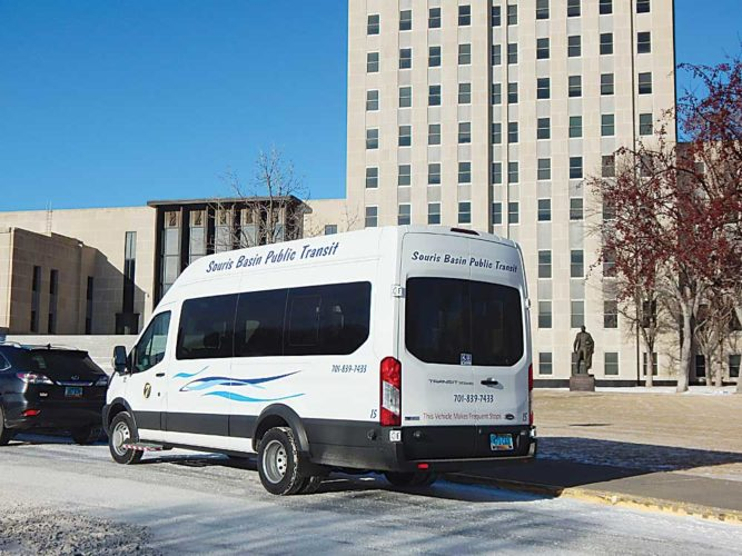Submitted Photo A Souris Basin Transportation van, parked near the state Capitol in Bismarck, will be employed in a new Minot-to-Bismarck route that launches Feb. 2.