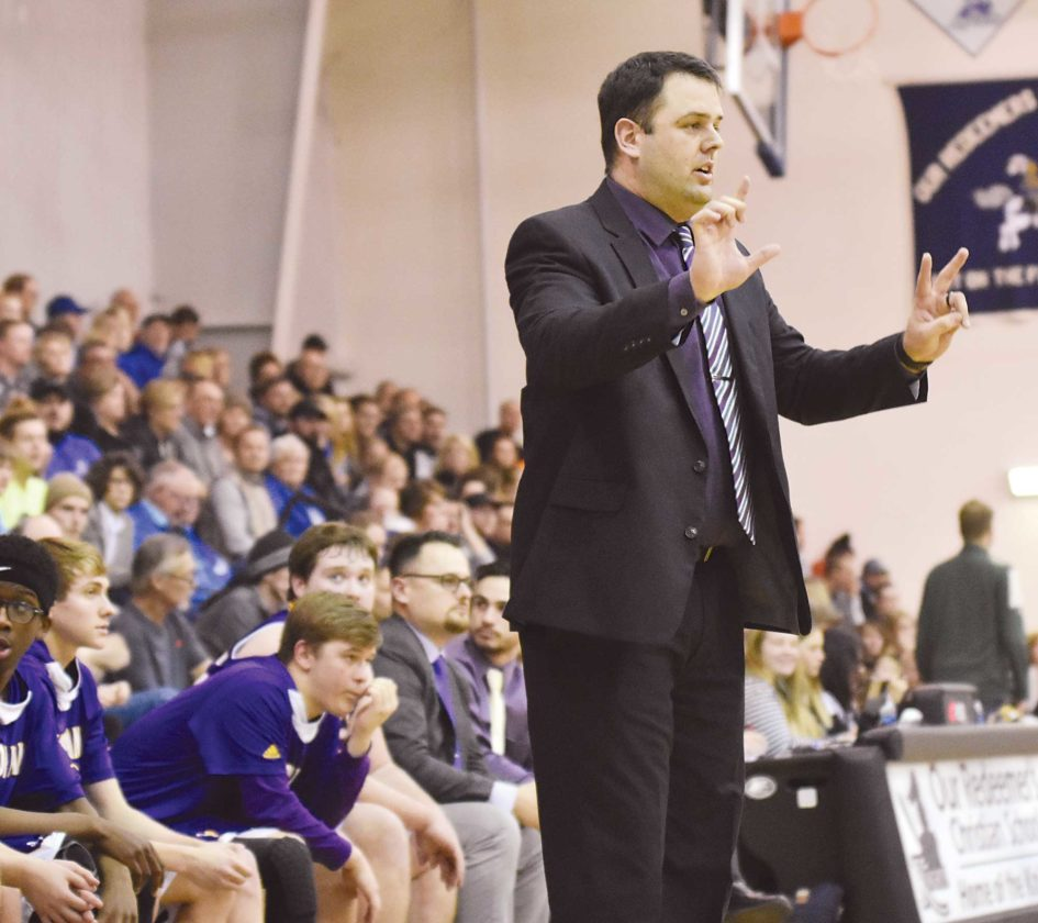 Garrick Hodge/MDN Bishop Ryan coach Jeremy Feller calls out a play Tuesday.
