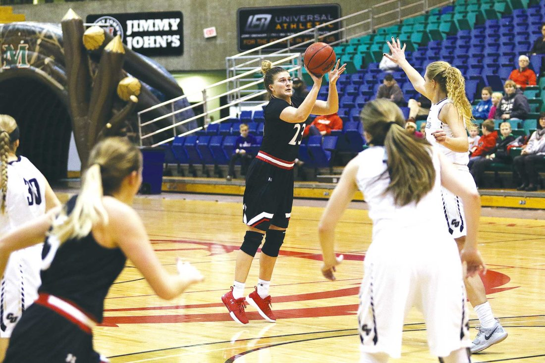 Minot State's  Holly Johnson (23) shoots a 3-pointer during a women's college  basketball game earlier this season.   Sean Arbaut/Minot State Athletics