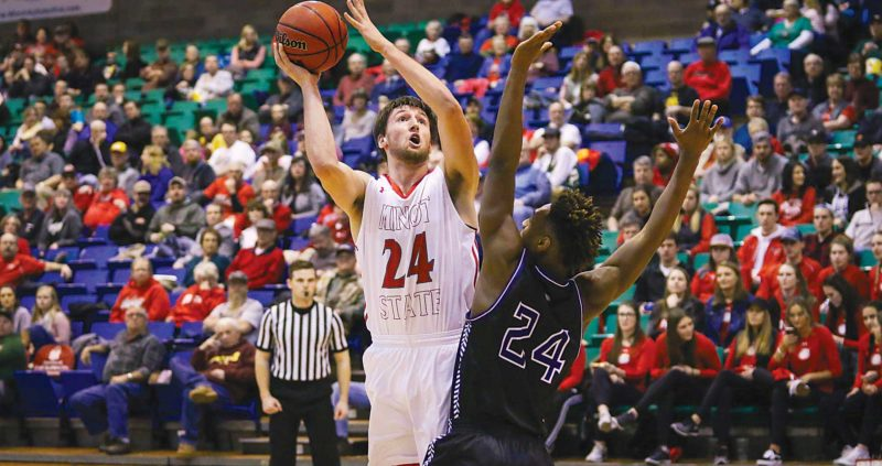 Sean Arbaut/Minot State athletics  Minot State's Tyler Rudolph (24) puts up a hook shot during a men's college basketball game Friday at the MSU Dome in Minot.