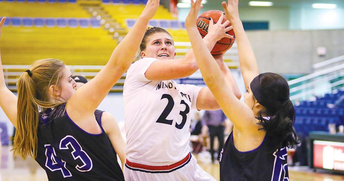 Sean Arbaut/Minot State athletics  Minot State's Holly Johnson puts up a shot during a women's college basketball game Friday at the MSU Dome in Minot.