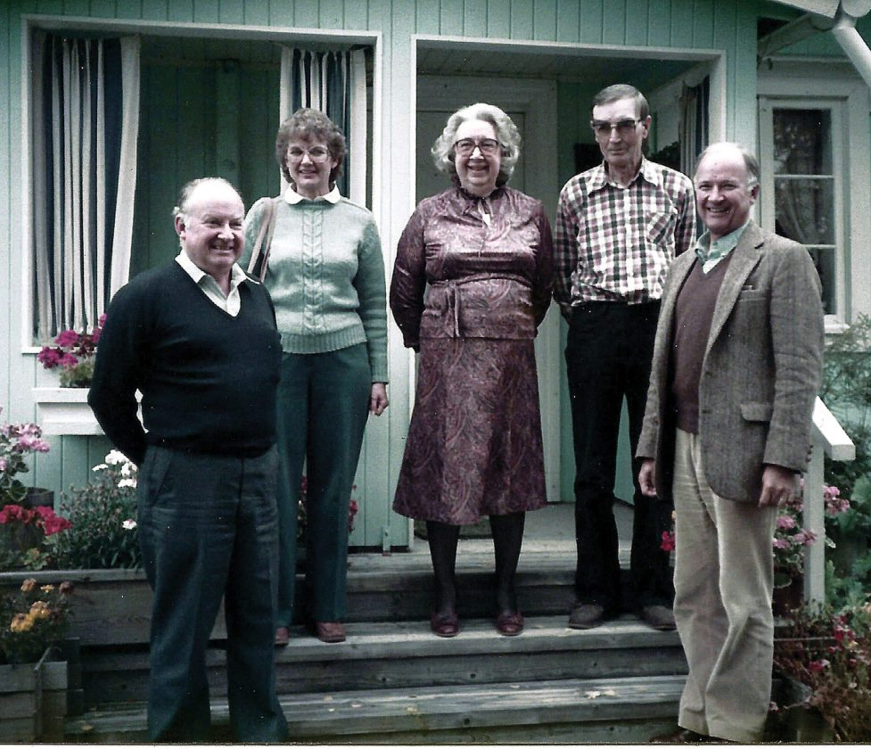Submitted Photo From the left, the late Orlan Tollefson, Phyllis Kempkes, Adele and George Nygaard, and Duane Tollefson are shown in 1984 in front of the Nygaard home in Roverud, Norway. George Nygaard now is 108 and Norway's oldest man