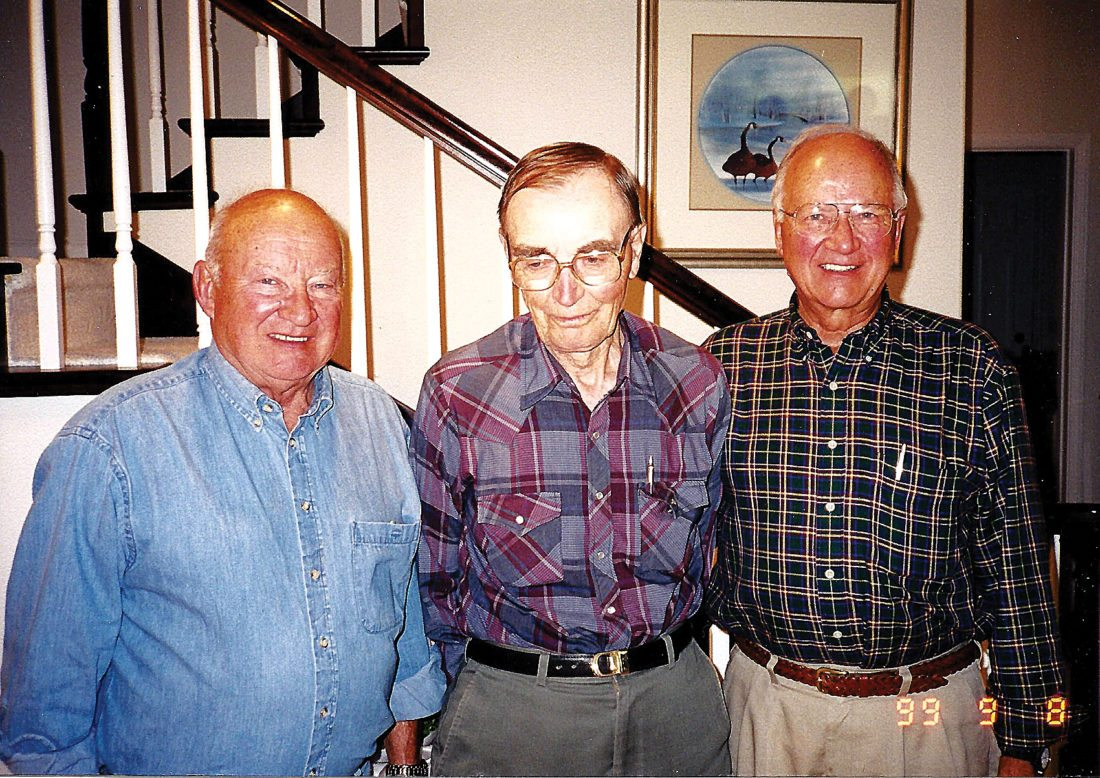 Submitted Photo George Nygaard, center, visited Minot in 1999. He is shown here with his nephews, the late Orlan Tollefson, left, and Duane Tollefson, right. Nygaard, who was born at Maddock, moved to Norway a number of years ago.