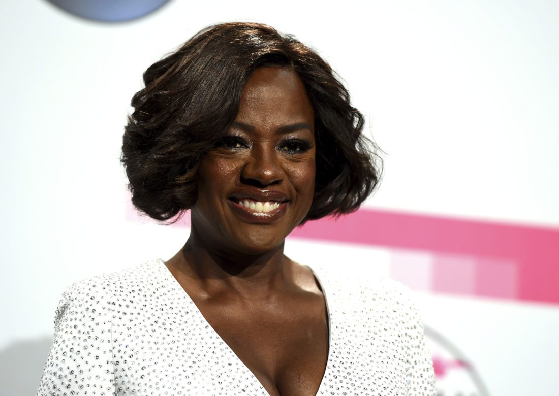 """Actress Viola Davis poses in the press room at the American Music Awards in Los Angeles. Davis Davis produced and narrates the documentary series """"Two Sides,"""" airing on TV One. (Photo by Jordan Strauss/Invision/AP, File)"""