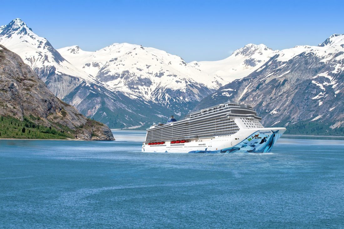 This undated image rendering provided by Norwegian Cruise Line shows Norwegian Bliss, a new ship launching this spring and heading to Alaska for the season. The ship is purpose-built for enjoying natural scenery with a 180-degree observation lounge perfect for watching glaciers. (Norwegian Cruise Line via AP)