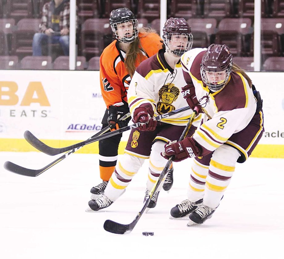 Photo courtesy of Sean Arbaut Minot High sophomore Dessa Flom (2) gathers the puck against Dickinson at Maysa Arena in Minot.