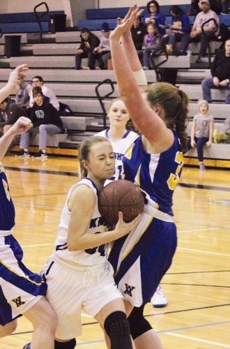 Our Redeemer's freshman guard Kendal Braun drives to the hoop Saturday evening in a Region 6 girls basketball game against Velva at ORCS. The Aggies won 69-47. Alex Eisen/MDN