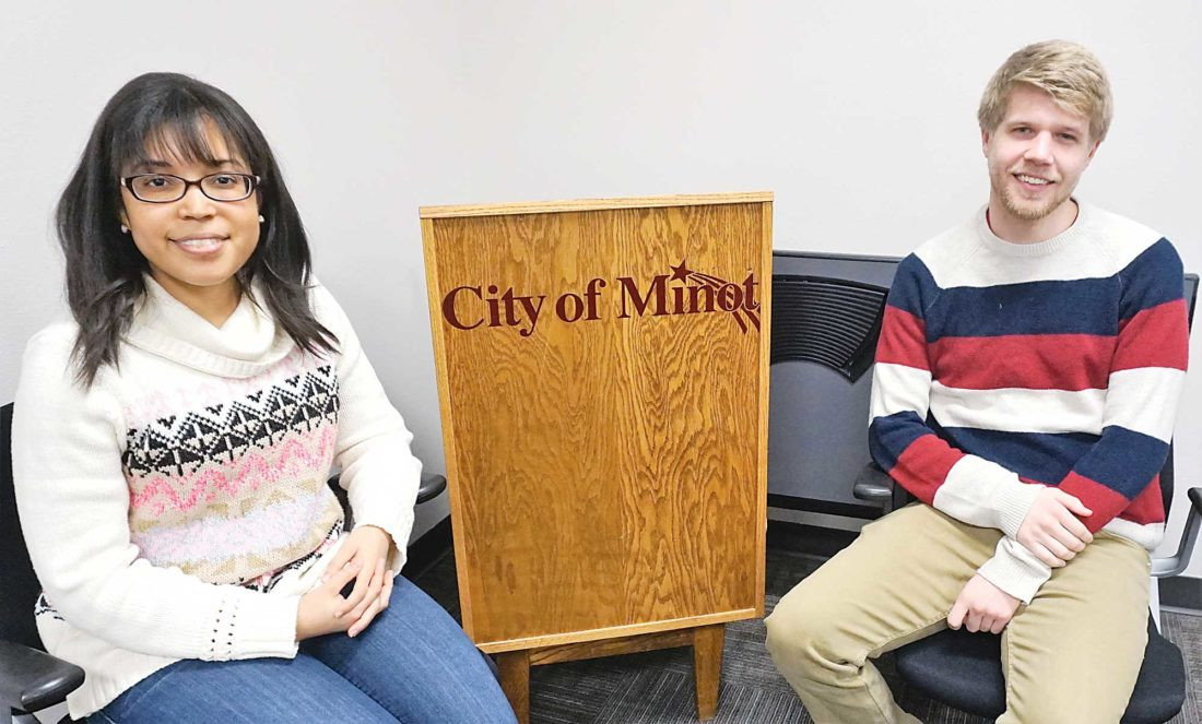Jill Schramm/MDN VISTA workers Andrianna Betts and Colin Hendrickson are shown Jan. 29 at the Minot Public Works Building, where they have been working to assist with disaster resilience and environmental stewardship in the community.