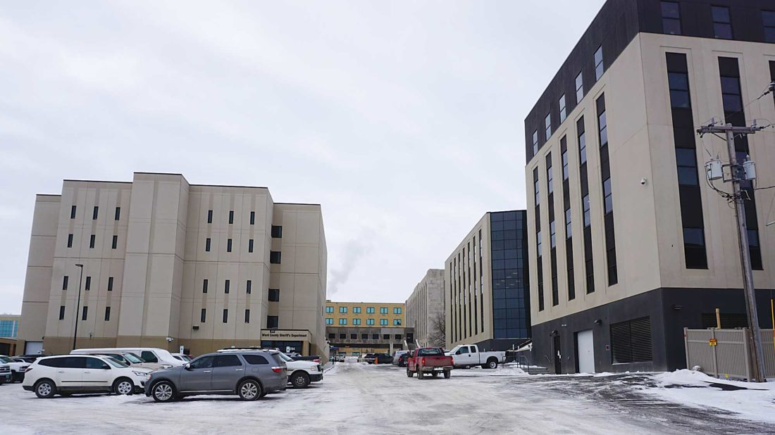 Jill Schramm/MDN A new county office building at right and jail expansion at left are among completed projects being paid for with bond issues and county sales tax.