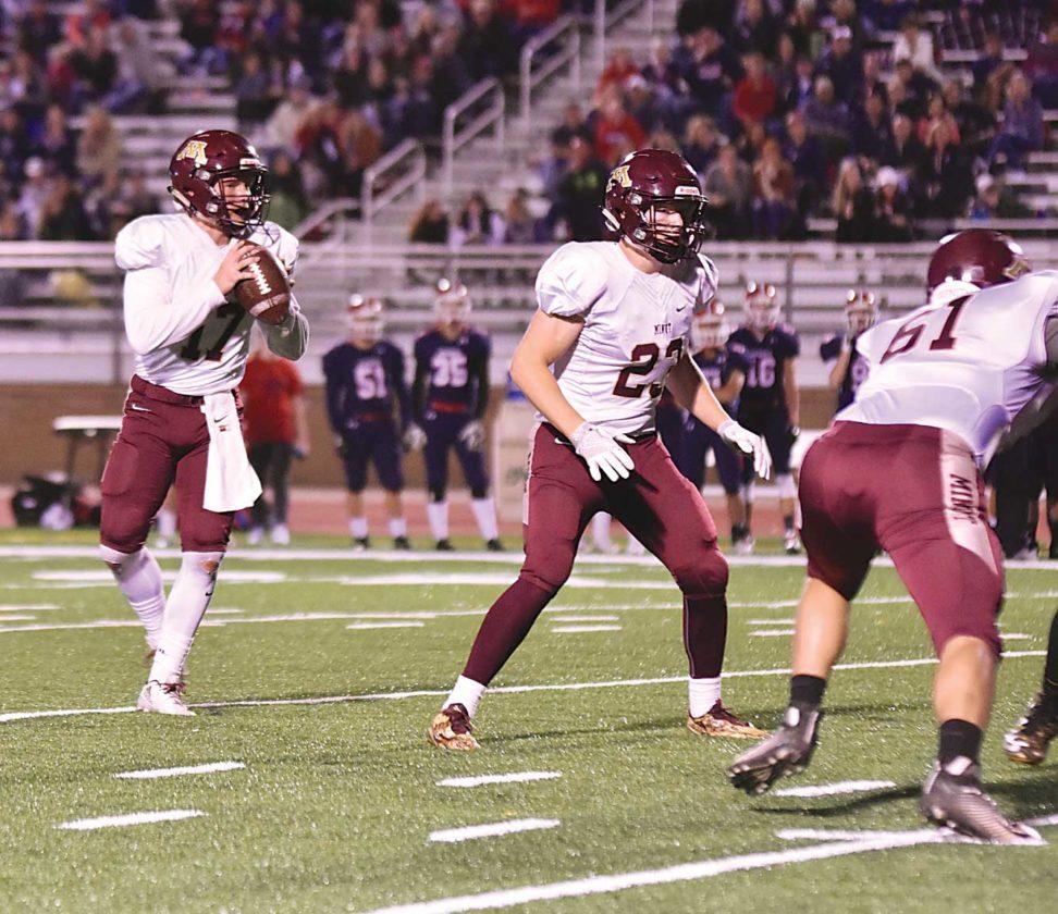 Garrick Hodge/MDN MHS running back Brett Davis (23) prepares to pass protect during a high school football game this past fall.