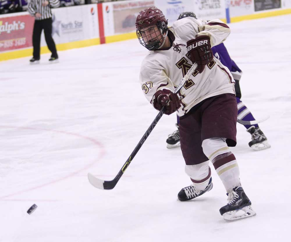 Photo courtesy of Sean Arbaut Minot High senior Brock Bergrude scores the first goal of the game Thursday evening against Bottineau/Rugby at Maysa Arena.