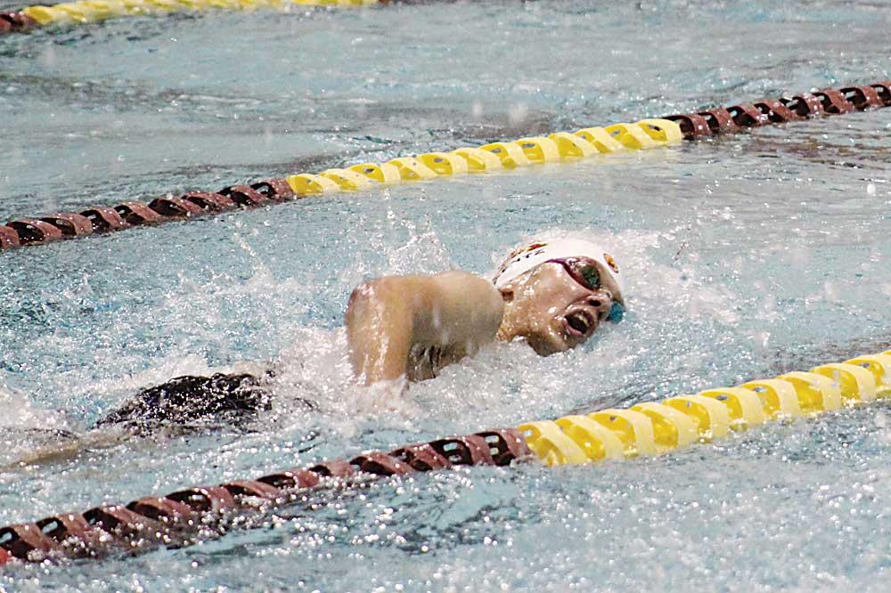 Ashton Gerard/MDN Minot High senior Charlie Wentz takes a breath during his 200-yard freestyle in a dual against Bismarck Century, Thursday at Magic City Campus.