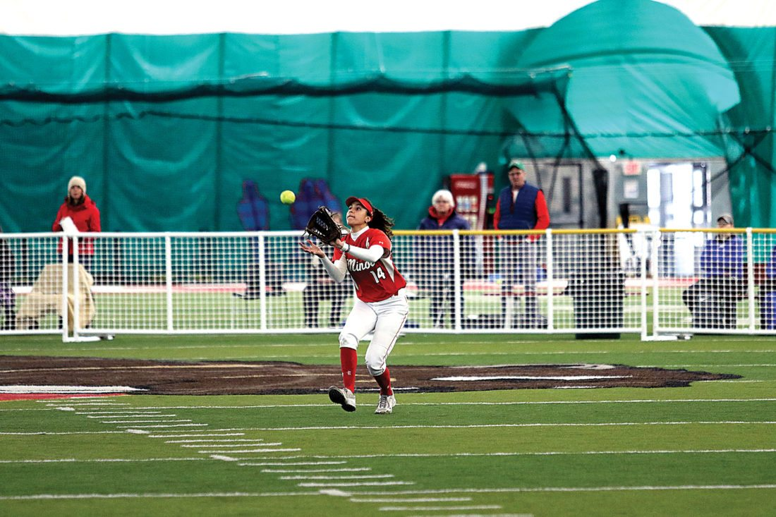 Sean Arbaut/Minot State athletics Minot State's Lauren Cowden (14) catches a fly ball in the outfield Sunday