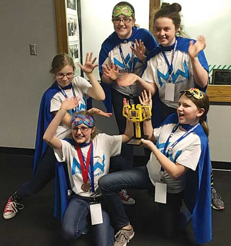 Submitted Photo Members of the winning team: Madi Giffey, Ruby Main, Leia McKechnie, Sarah Potts, and Anikka Henjum. Ages 10-14.