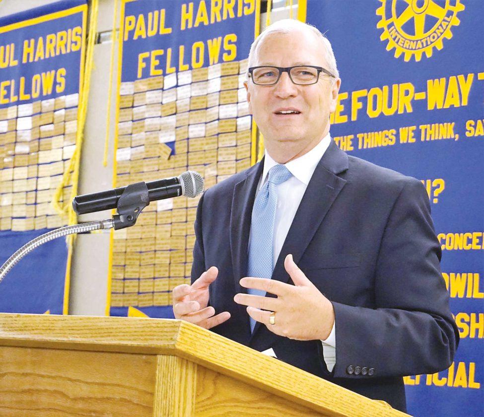 Jill Schramm/MDN Congressman Kevin Cramer speaks at a Rotary Club meeting in Minot earlier in 2017. Cramer announced Friday that he is entering North Dakota's Senate race.