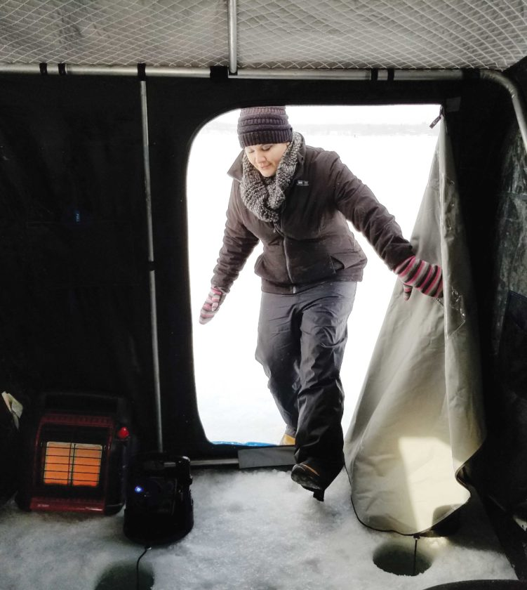 Kim Fundingsland/MDN An ice fisherman enters a heated shelter for a comfortable afternoon of ice fishing.