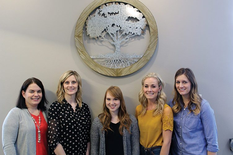 Ashton Gerard/MDN Minot Center for Pediatric Therapy therapists, from left, are Summer Van Rooyen, Kylee Geer, Lauren Anderson, Candace Michalenko and Mackenzie Bachmeier. Not pictured is Cassie Sheppard.