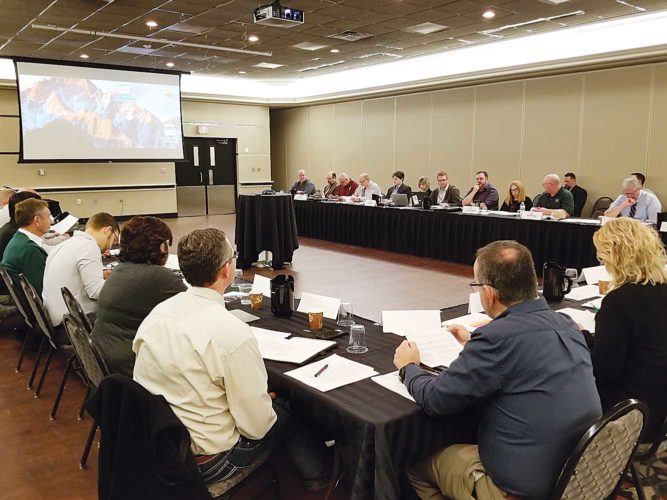 Kim Fundingsland/MDN The International Souris River Board met Wednesday morning in Minot. The agenda included several reports on expected flows in the Souris River this spring and summer.