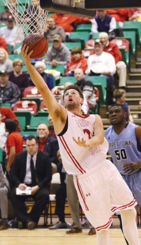 Sean Arbaut/Minot State athletics  Minot State's Tyler Rudolph (24) scores a layup during a men's college basketball game Wednesday at the MSU Dome in Minot.