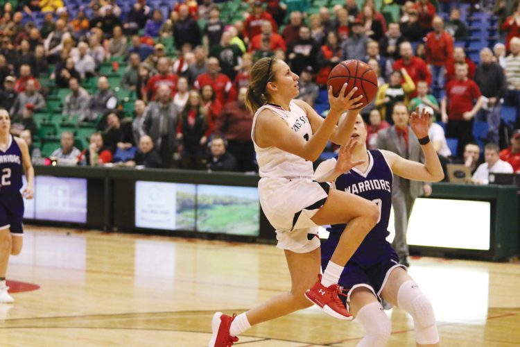Sean Arbaut/Minot State athletics  Minot State's Maddie Wald (3) puts up a shot during a women's college basketball game Wednesday at the MSU Dome.