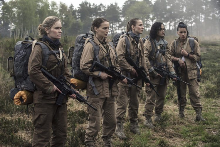 "This image released by Paramount Pictures shows, from left, Jennifer Jason Leigh, Natalie Portman, Tuva Novotny, Tessa Thompson and Gina Rodriguez in a scene from ""Annihilation."" (Peter Mountain/Paramount Pictures/Skydance via AP)"