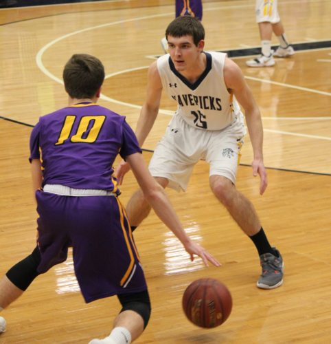 Mohall-Lansford-Sherwood junior Isaac Undlin (15) guards Glenburn sophomore Matthew Dufner (10) Friday evening in Minot. Undlin scored a game-high 24 points in a 74-42 Mavericks win