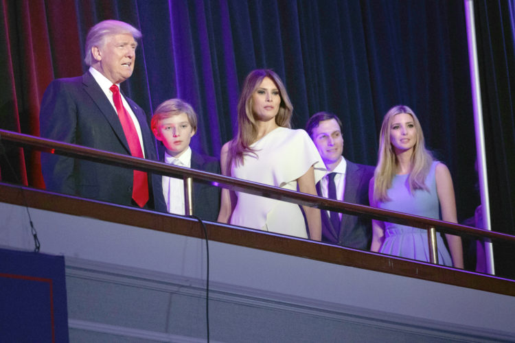 President-elect Donald Trump, left, arrives to speak at an election night rally, Wednesday, Nov. 9, 2016, in New York. From left, Trump, his son Barron, wife Melania, Jared Kushner, and Ivanka Trump. (AP Photo/ Evan Vucci)