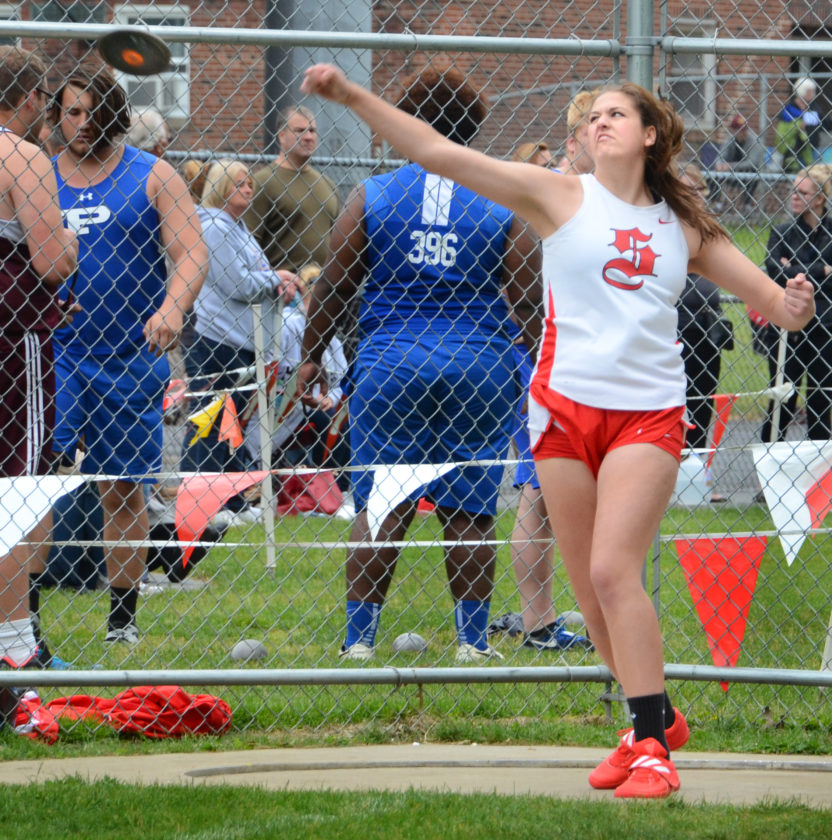 Salem's Caitlyn Marx competes in the shot put on Saturday. (Photo by Patti Scaheffer)