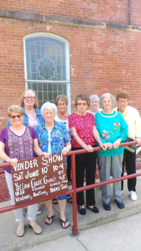 Submitted photo Yellow Creek Presbyterian Church members (front, from left) Joan Reed, Karen Williams, Jana Lawrence, Jane Reese and Betty Billie, (back) Carol Minto, Joanne Davis and Nancy Concie will host a vendor show from 10 a.m. to 4 p.m. June 10. Vendors are being sought for the show with a signup fee of $25 per table and just $5 more if electric is needed. There will be a Chinese auction and food items. For more information or to reserve a table call Karen Williams 532-2840, Joan Reed 330-383-7921 or Melissa Arthur 424-6338.