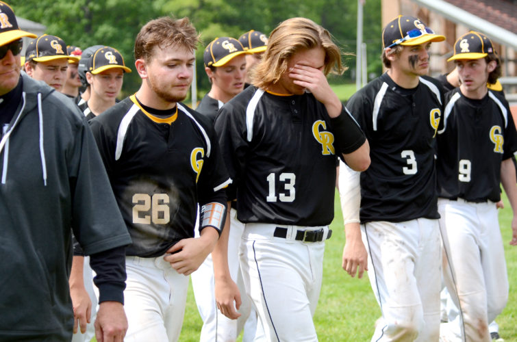 Crestview's baseball team reacts after dropping a 1-0 decision to Doylestown Chippewa in the Div. III regional semifinals on Friday. (Photo by Patti Schaeffer)